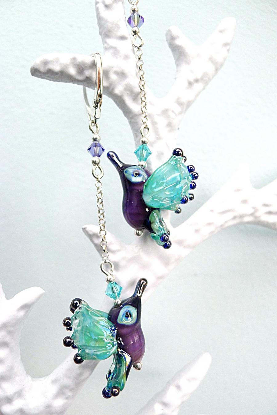 Kolibříci - náušnice vinuté perle - Ag