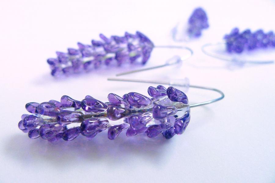 Levandule fialová  - náušnice z vinutek