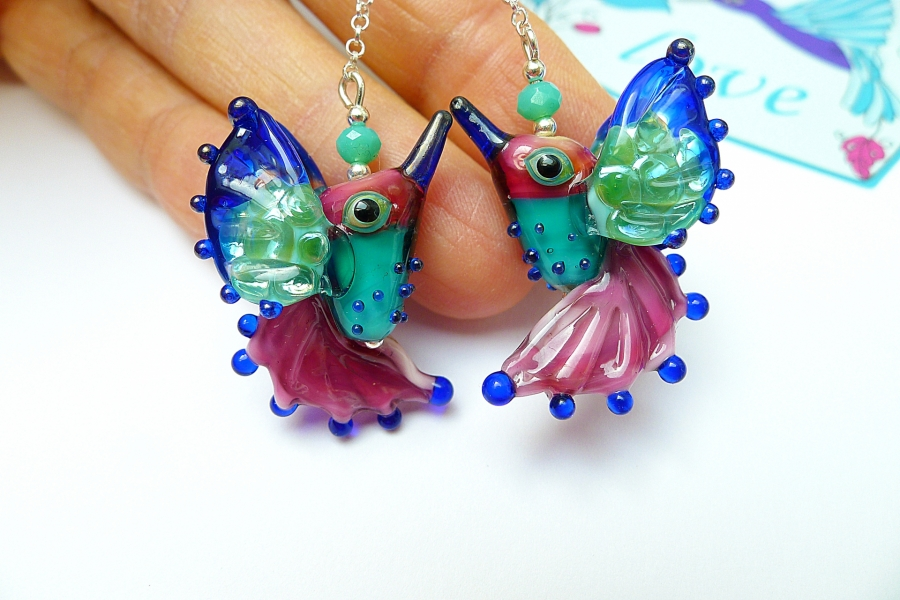 Kolibříci III - náušnice Ag