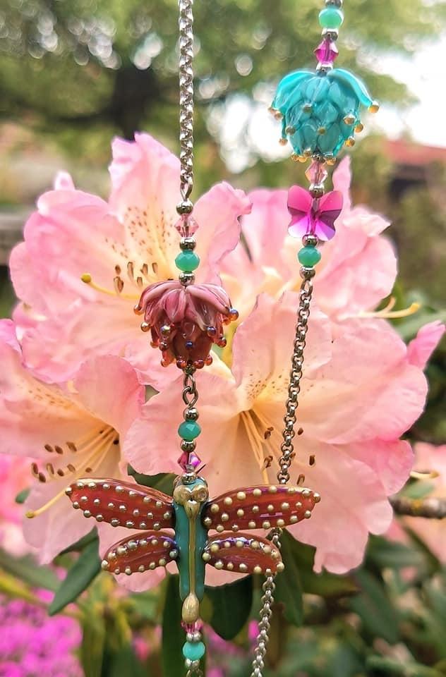 Vílí náhrdelník - růžovo-tyrkysový